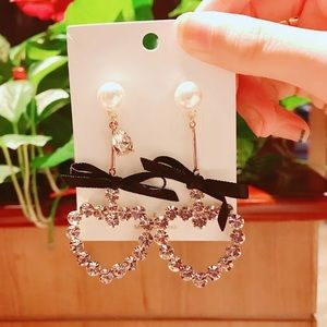 Rhinestone Heart Bow Earrings
